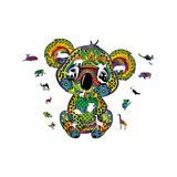 Teka Puzzle Puzzles - Green & Blue Geometric Koala-Shaped Wood 102-Piece Puzzle