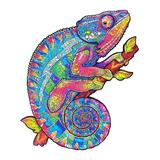 Teka Puzzle Puzzles - Blue & Pink Chameleon-Shaped Wood 96-Piece Puzzle