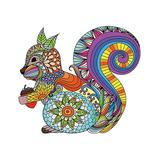 Teka Puzzle Puzzles - Blue & Yellow Geometric Squirrel-Shaped Wood 120-Piece Puzzle