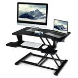 Costway Height Adjustable Standing Desk Converter with Removable Keyboard Tray-Black