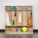 """Flash Furniture Wooden 5 Section School Coat Locker with Bench, Cubbies, and Storage Organizer Hook-Safe, Kid Friendly Design - 48""""H x 48""""L (Natural)"""