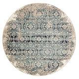 Kas Rugs Heritage Ivory/Blue Anna Plush Area Rug, 7'7 x 7'7 Round (HER937277X77RO)