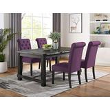 Roundhill Furniture Aneta Antique Black Finished Wood Dining Set, Table with Four Chairs, Purple