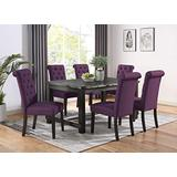 Roundhill Furniture Aneta Antique Black Finished Wood Dining Set, Table with Six Chairs, Purple