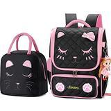 Backpacks for Girls,Kids Backpack Cat Face Backpack for Teen Girls Backpack for Girls Elementary School (Black Set-Large)
