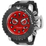 Invicta Men's 58mm Sea Hunter Gen II Swiss Quartz Chronograph Red Dial Silicone Strap Watch (Model : 32655)