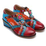 CrazycatZ Leather Mary Jane Shoes,Womens Colorful Block Heel Pumps Vintage Mary Jane Shoes Pumps (RED, Numeric_9)