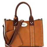 Twist Lock Studded 3 in 1 Soft Structure Plain & Ostrich Vegan Leather Tote Purse Handbag with Crossbody SET (Plain Vegan Leather - Light Tan/Coffee)