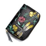 Ella & Elly Women's Wallets Black - Black & Yellow Dragonfly Embossed Leather Coin Purse