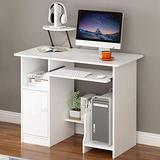 【Fast Delivery】 Home Desktop Computer Desk Computer Desk with Drawer/Keyboard Tray, Study Writing Desk w/Storage Shelves Modern Simple Style PC Desk Laptop Study Table Workstation
