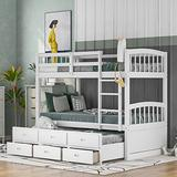 Twin Bunk Bed for Kids, Solid Wood Bunk Beds with Trundle Bed and 3 Storage Drawers, Can Be Split into 2 Separate beds, Safety Guard Rail Bedroom Furniture (White-1)