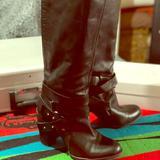 Nine West Shoes | Knee High Black Leather Boots | Color: Black | Size: 9.5