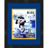 Frames By Mail St. Louis Blues 6 Joel Edmundson - Picture Frame Memorabilia Print on Paper Paper in Blue/Brown, Size 16.0 H x 13.0 W x 1.75 D in