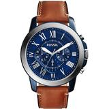 'grant' Round Chronograph Leather Strap Watch - Blue - Fossil Watches
