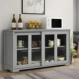 Topment Kitchen Storage Sideboard, Wooden Storage Cabinet w/Adjustable Shelf, Console Table w/ 2-Level Cabinet, Sideboard Buffet Cabinet w/Glass Sliding Doors, for Home Kitchen (Gray)