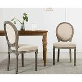 Guyou Retro French Round Back Dining Chairs Set of 2 Upholstered Linen Kitchen Chairs, Distressed Wood Chairs for Dining Room/Living Room/Bedroom (Dark Beige)
