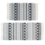 Abreeze Cotton Area Rug Set 2 Piece 2'x4.2'+2'x3' Hand Woven Cotton Rugs with Tassel Washable Printed Cotton Throw Rugs Runner for Farmhouse,Laundry,Kitchen, Living Room, Bedroom