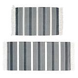 Abreeze Moroccan Cotton Area Rug Set 2 Piece 2'x4.2'+2'x3' Machine Washable Printed Cotton Rugs with Tassel Hand Woven Cotton Rug Runner for Kitchen, Living Room, Bedroom, Laundry Room, Entryway