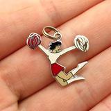 Charm Pendant Supply - Jewelry Making DIY 925 Sterling Silver Vintage Colorful Enamel Cheerleader Girl Charm Pendant