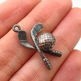Charm Pendant Supply - Jewelry Making DIY 925 Sterling Silver Vintage Crossed Hockey Stick & Puck Charm Pendant