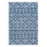 JONATHAN Y Indoor Rugs Blue/Ivory - Blue & Ivory Geometric Coastal Nokat Indoor/Outdoor Rug