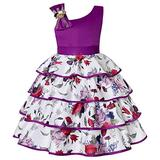 Girls Dress Elegant Party Dress for Girls Butterfly Cute Priness Dress (140(7-8T), Purple Flower Girls Dress)