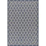 Bungalow Rose Renne Geometric Blue/Beige Indoor/Outdoor Area Rug Polypropylene in Blue/White, Size 84.0 H x 63.0 W x 0.1 D in | Wayfair