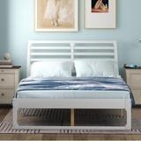 Latitude Run® Jodiann Platform Bed Wood in White, Size 40.3 H x 63.3 W x 82.2 D in | Wayfair F1D45D9CF9AE4E399452467C6D3B2A1D