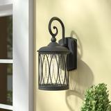 "Charlton Home® Villalpando 1 - Bulb 12.5"" H Outdoor Wall Lantern Metal in Black, Size 12.6 H x 5.6 W x 7.3 D in   Wayfair"