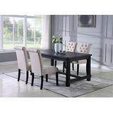 Roundhill Furniture Aneta Antique Black Finished Wood Dining Set, Table with Four Chairs, Tan