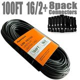 Hypergiant 16/2 Low Voltage Landscape Wire , Outdoor Landscape Lighting Wire with 8 Pack Easy Install connectors, 100 ft Low Voltage Lighting Cable Perfect for Accent Lights, Path Lights, spotlights