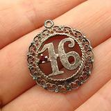 """Charm Pendant Supply - Jewelry Making DIY 925 Sterling Silver Vintage C Z """"Sweet 16 / Lucky Number"""" Charm Pendant"""