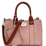 Twist Lock Studded 3 in 1 Soft Structure Plain & Ostrich Vegan Leather Tote Purse Handbag with Crossbody SET (Plain Vegan Leather - Salmon Pink/Brown)