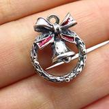 Charm Pendant Supply - Jewelry Making DIY 925 Sterling Silver Vintage Enamel Christmas Wreath Bell Charm Pendant