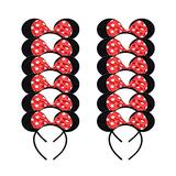 YJ-12 pcs Mickey Minnie Mouse bow tie Mickey headbands for boys and girls birthday party or celebration Halloween party supplies decoration (red)