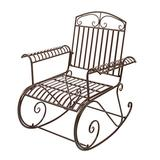 Bent Armrest Single Rocking Chair Dark Brown, Stable & Sturdy Garden Iron Art Rocking Chair Family Chairs Outdoor Use