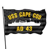 BDESFAW USS Cape Cod Ad 43 with USA Flag Banner Breeze Flag Outdoor Flags Home Flag Garden Flag 3' X 5' Ft