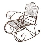 Iron Wire Single Rocking Chair Dark Brown, Stable & Sturdy Garden Iron Art Rocking Chair Family Chairs Outdoor Use