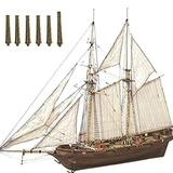 JAOCDOEN Wooden Sailboat Ship Kit, Assembling Building Kits Ship Model, Wooden Sail Boat Toys Harvey Sailing Model, Assembled Wooden Kit DIY Gift Learning Toys Decoration