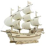 JAOCDOEN DIY 3D Wooden Boat Puzzle Sailing Ship Model Kits, Learning Building Toy Simulation Sailing Model Assembly Educational Construction Puzzles, Realistic Wood Assembly Toy for Kids Adults