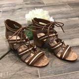 Nine West Shoes | Nine West Ghobio Tan Lace Up Sandals | Color: Tan/White | Size: 7.5