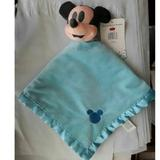 Disney Accessories | Mickey Mouse Baby Lovey Security Blanket Plush | Color: Blue | Size: 16 X 16