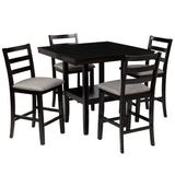 Red Barrel Studio® Esean 5 - Piece Counter Height Dining Set Color: Espresso, Bench Color: Gray, Wood/Upholstered Chairs/Solid Wood in Espresso/Gray