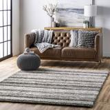 Andover Mills™ Stoudt Striped Handmade Tufted Gray Area Rug Polyester in Brown/Gray, Size 96.0 W x 0.91 D in | Wayfair