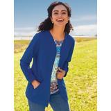Women's Plus Open-Front Fleece Jacket, Classic Blue XL
