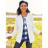 Women's Plus Open-Front Fleece Jacket, White 3XL