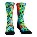 Rock Em Apparel Socks - Green & Blue Tie-Dye Alien Invasion Socks - Kids & Adult