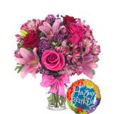 Flowers - Rose & Lily Celebration with Birthday Balloon