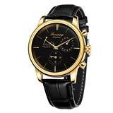MASTOPAutomatic Mechanical Men Wristwatch Battery Less Self Winding Luxury Dress Wristwatch Leather Waterproof Stainless Steel Case Classic Casual Mechanical Wristwatch (Gold Black)