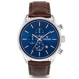 Vincero Luxury Men's Chrono S Wrist Watch - Top Grain Italian Leather Watch Band - 43mm Chronograph Watch - Japanese Quartz Movement… (Blue/Brown)